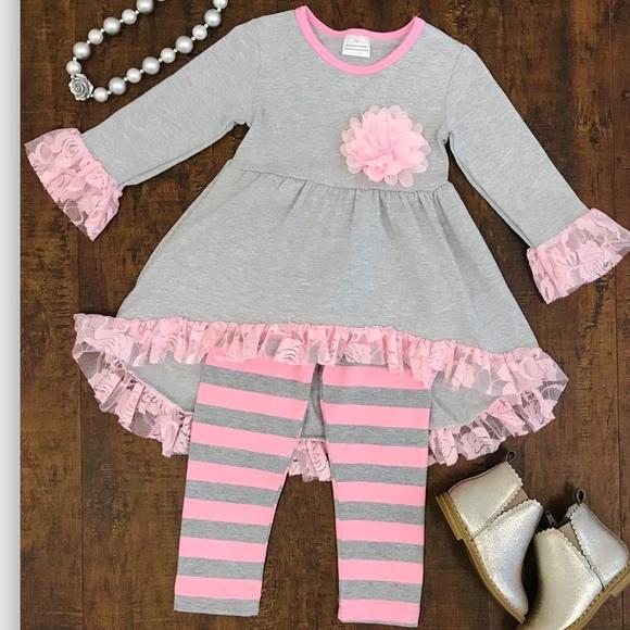ee2904a3205 Boutique Matching Sets | Ruffle Tunic Top Pants Girls Set Sz 4t ...